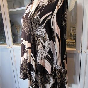 Free People Tops - Free People NWT Black Pink & White button up tunic